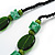 Statement Ceramic/ Wood/ Resin Bead Black Cotton Cord Necklace (Green) - 70cm L - view 7