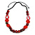 Statement Wood, Ceramic and Acrylic Bead Black Cord Necklace In Red - 60cm Long - view 3