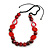 Statement Wood, Ceramic and Acrylic Bead Black Cord Necklace In Red - 60cm Long