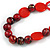 Statement Wood, Ceramic and Acrylic Bead Black Cord Necklace In Red - 60cm Long - view 4