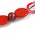 Statement Wood, Ceramic and Acrylic Bead Black Cord Necklace In Red - 60cm Long - view 5