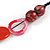 Statement Wood, Ceramic and Acrylic Bead Black Cord Necklace In Red - 60cm Long - view 6