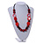 Statement Wood, Ceramic and Acrylic Bead Black Cord Necklace In Red - 60cm Long - view 2