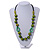 Signature Wood, Ceramic, Acrylic Bead Black Cord Necklace (Lime Green/ Spring Green) - 72cm L (Adjustable) - view 2