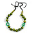 Signature Wood, Ceramic, Acrylic Bead Black Cord Necklace (Lime Green/ Spring Green) - 72cm L (Adjustable)