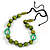 Signature Wood, Ceramic, Acrylic Bead Black Cord Necklace (Lime Green/ Spring Green) - 72cm L (Adjustable) - view 3