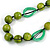 Signature Wood, Ceramic, Acrylic Bead Black Cord Necklace (Lime Green/ Spring Green) - 72cm L (Adjustable) - view 4