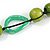 Signature Wood, Ceramic, Acrylic Bead Black Cord Necklace (Lime Green/ Spring Green) - 72cm L (Adjustable) - view 5