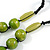 Signature Wood, Ceramic, Acrylic Bead Black Cord Necklace (Lime Green/ Spring Green) - 72cm L (Adjustable) - view 6