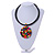 Black Rubber Cord Necklace with Multicoloured Wood Bead Medallion Pendant - 50cm L - view 2