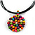 Black Rubber Cord Necklace with Multicoloured Wood Bead Medallion Pendant - 50cm L - view 3