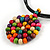 Black Rubber Cord Necklace with Multicoloured Wood Bead Medallion Pendant - 50cm L - view 5