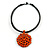 Black Rubber Cord Necklace with Orange Wood Bead Medallion Pendant - 50cm L