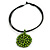 Black Rubber Cord Necklace with Lime Green Wood Bead Medallion Pendant - 50cm L