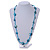Sea Shell and Glass Bead Necklace In Light Blue - 80cm Long - view 2
