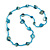 Sea Shell and Glass Bead Necklace In Light Blue - 80cm Long - view 3