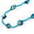 Sea Shell and Glass Bead Necklace In Light Blue - 80cm Long - view 4