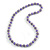 Purple Glass Bead with Silver Tone Metal Wire Element Necklace - 70cm Long - view 3
