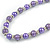 Purple Glass Bead with Silver Tone Metal Wire Element Necklace - 70cm Long - view 4