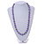 Purple Glass Bead with Silver Tone Metal Wire Element Necklace - 70cm Long - view 2