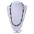 Multicoloured Glass Bead with Silver Tone Metal Wire Element Necklace - 70cm Long - view 2