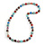 Multicoloured Glass Bead with Silver Tone Metal Wire Element Necklace - 70cm Long - view 3