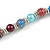 Multicoloured Glass Bead with Silver Tone Metal Wire Element Necklace - 70cm Long - view 5