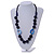 Signature Wood, Ceramic, Acrylic Bead Black Cord Necklace (Dark Blue) - 72cm L (Adjustable) - view 2