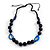 Signature Wood, Ceramic, Acrylic Bead Black Cord Necklace (Dark Blue) - 72cm L (Adjustable) - view 3