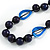 Signature Wood, Ceramic, Acrylic Bead Black Cord Necklace (Dark Blue) - 72cm L (Adjustable) - view 4