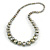 Long Graduated Wooden Bead Colour Fusion Necklace (Gold/ Black/ Metallic Silver) - 76cm Long