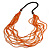 Statement Multistrand Orange Glass Bead, Brown Wood Bead Necklace - 110cm L