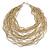 Chunky Antique White Glass Bead Bib Multistrand Layered Necklace - 80cm L