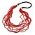 Statement Multistrand Bright Red Glass Bead, Brown Wood Bead Necklace - 110cm L