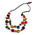 2 Strand Multicoloured Wood Bead Black Cord Necklace - 78cm Long - view 3