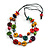 2 Strand Multicoloured Wood Bead Black Cord Necklace - 78cm Long