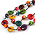 2 Strand Multicoloured Wood Bead Black Cord Necklace - 78cm Long - view 4