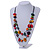 2 Strand Multicoloured Wood Bead Black Cord Necklace - 78cm Long - view 2