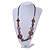 Brown Geometric Wood Bead Black Leather Style  Necklace - 70cm L - view 2