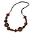 Brown Geometric Wood Bead Black Leather Style  Necklace - 70cm L - view 3