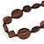 Brown Geometric Wood Bead Black Leather Style  Necklace - 70cm L - view 4