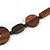 Brown Geometric Wood Bead Black Leather Style  Necklace - 70cm L - view 5