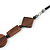 Brown Geometric Wood Bead Black Leather Style  Necklace - 70cm L - view 6