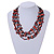 Burnt Orange Shell and Black Glass Beads Multistrand Necklace - 48cm Long - view 2