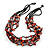 Burnt Orange Shell and Black Glass Beads Multistrand Necklace - 48cm Long - view 3