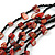 Burnt Orange Shell and Black Glass Beads Multistrand Necklace - 48cm Long - view 5