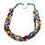 Multicoloured 3 Strand Layered Glass/ Shell Bead Necklace with Silver Tone Closure - 50cm L/ 6cm Ext - view 4