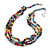 Multicoloured 3 Strand Layered Glass/ Shell Bead Necklace with Silver Tone Closure - 50cm L/ 6cm Ext