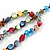 Multicoloured 3 Strand Layered Glass/ Shell Bead Necklace with Silver Tone Closure - 50cm L/ 6cm Ext - view 5