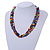 Multicoloured 3 Strand Layered Glass/ Shell Bead Necklace with Silver Tone Closure - 50cm L/ 6cm Ext - view 2